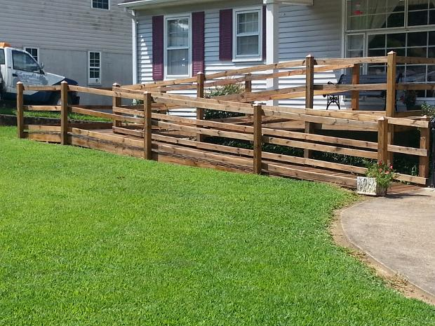 After staining this wheelchair ramp