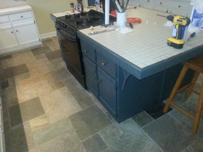 North Chattanooga Kitchen Island after we painted them