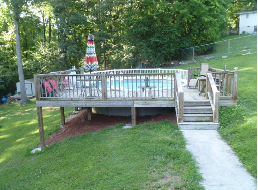 Before staining Hixson Pool  Deck